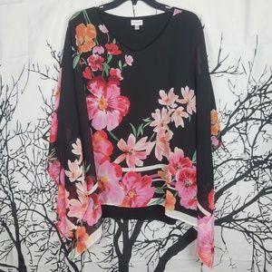 Avenue | Sheer Floral Blouse 22/24 pink & Black